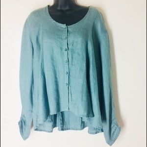Flax Linen High Low Long Sleeve Blouse